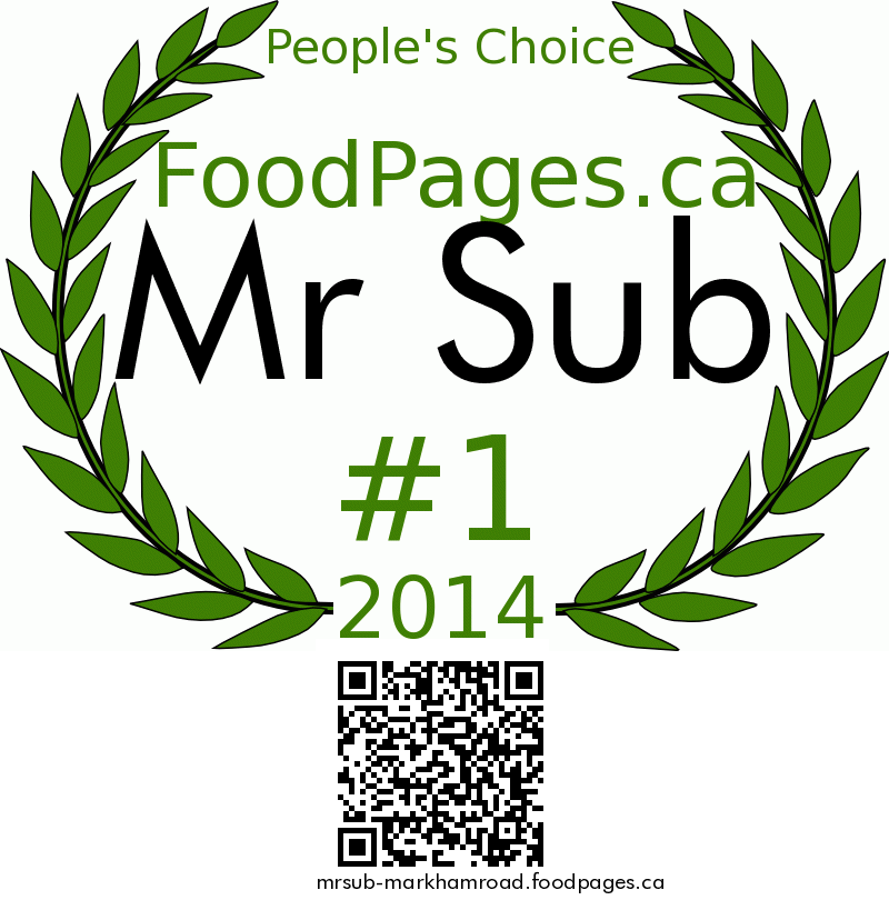 Mr Sub FoodPages.ca 2014 Award Winner
